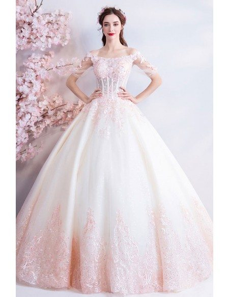 Dreamy Princess White And Pink Ball Gown Wedding Dress Off Shoulder