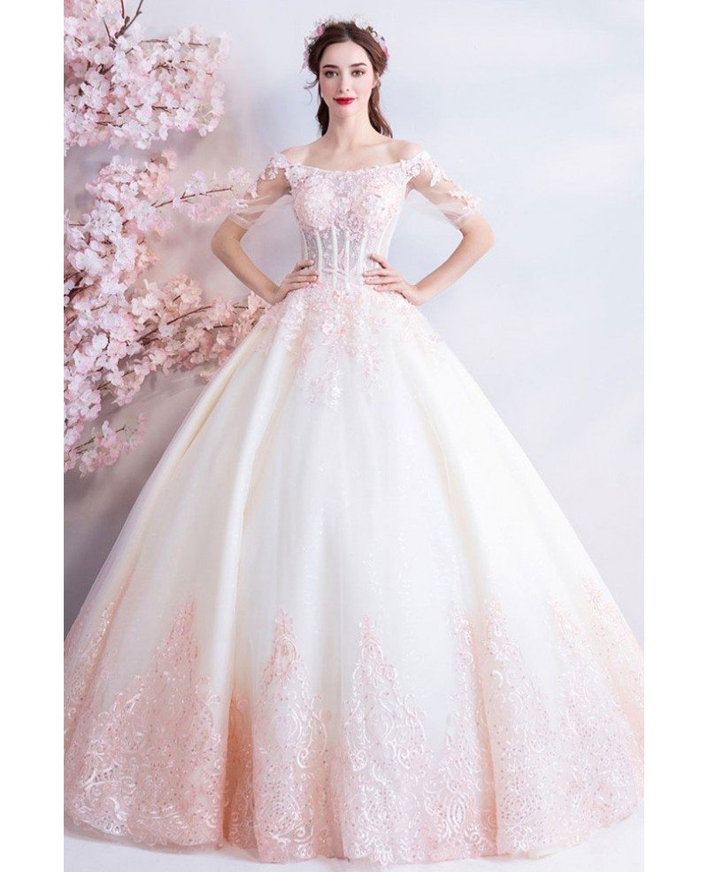 Dreamy Princess White And Pink Ball Gown Wedding Dress Off