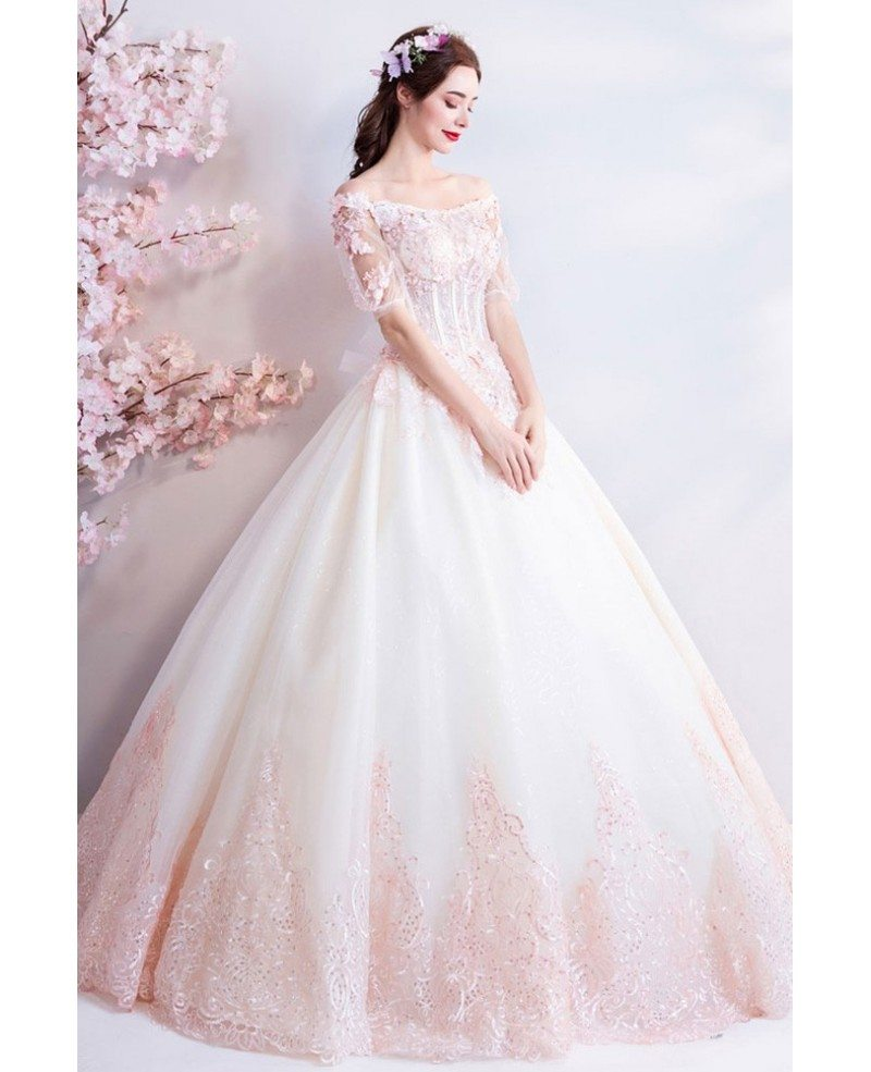 Red And White Ball Gown Wedding Dress: Dreamy Princess White And Pink Ball Gown Wedding Dress Off
