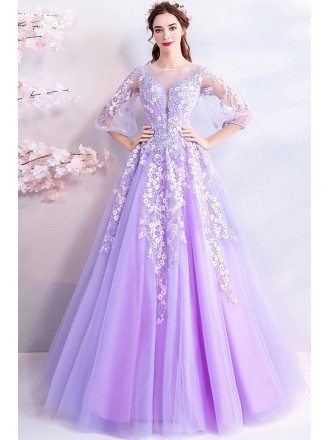 Fairy Purple Flowers Long Tulle Prom Dress With Sheer Sleeves