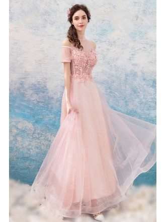 Flowy Long Pink Tulle Prom Dress With Appliques Sheer Neckline