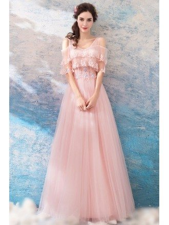 Lovely Pink Tulle Flowy Prom Dress With Cape Sleeves