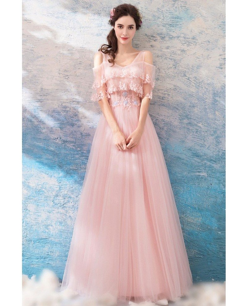 later latest style of 2019 discount price Lovely Pink Tulle Flowy Prom Dress With Cape Sleeves Wholesale #T69114 -  GemGrace.com