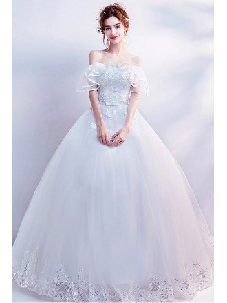 Gorgeous Off Shoulder White Ball Gown Wedding Dress With Sequins