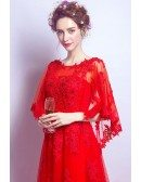Elegant Long Red Lace Wedding Party Dress With Cape Sleeves