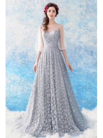 Elegant Long Grey Stars A Line Prom Dress With Sheer Sleeves