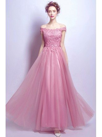Flowy Long Pink Lace Off Shoulder Prom Dress A Line With Lace