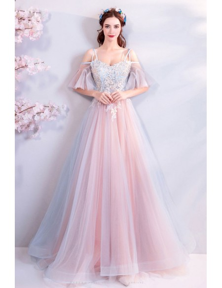 Fairy Dusty Blue And Pink Tulle Unique Prom Dress Long With Straps