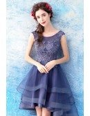 Blue Tulle Ruffled High Low Short Prom Dress With Beading