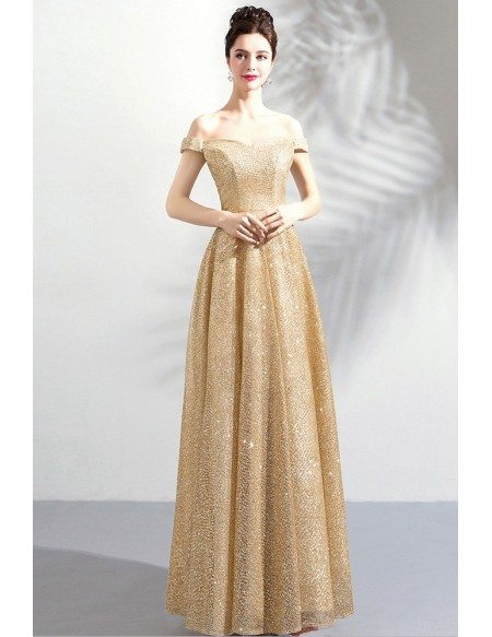 Elegant Champagne Gold A Line Long Formal Dress Sparkly With Off Shoulder