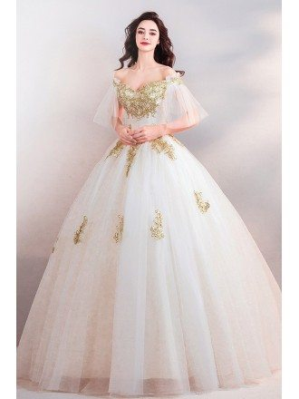Luxury White With Gold Embroidery Ball Gown Court Wedding Dress With Sleeves