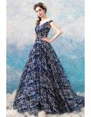 Dreamy Navy Blue Bling Formal Prom Dress Off Shouler With Sequins