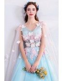 Fairy Butterfly Blue Formal Long Prom Dress With Petals Cape
