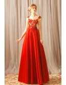 Formal Long Red Beaded Lace A Line Prom Dress With Cap Sleeves