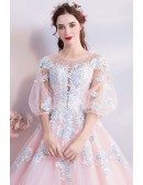 Dremy Princess Pink Ball Gown Formal Dress With Sleeves Sequins