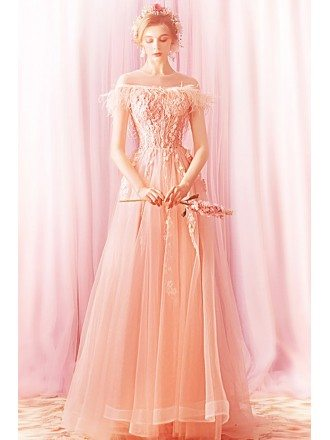 Gorgeous Flowy Long Pink Prom Dress With Appliques Off Shoulder