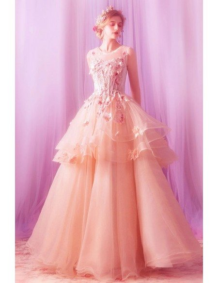 Stunning Ruffles Ball Gown Formal Prom Dress With Flowers