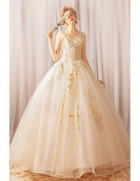 Unique Fairy Flowers Formal Ball Gown Prom Dress With Embroidery