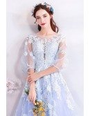 Gorgeous Light Blue Poofy Long Tulle Prom Dress With Sleeves