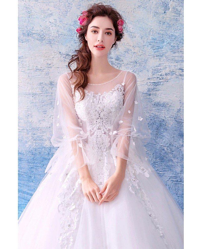 Fairy Butterfly Sleeve Princess Ball Gown Wedding Dress