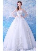 Fairy Butterfly Sleeve Princess Ball Gown Wedding Dress Wholesale Price