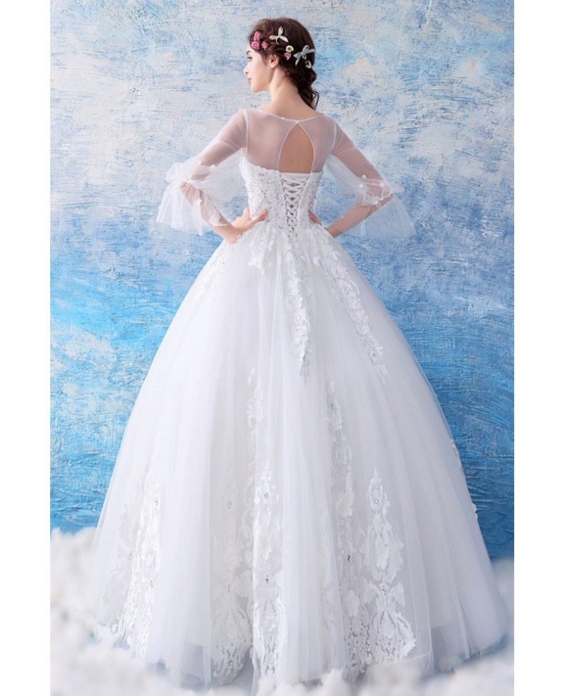 Fairy Butterfly Sleeve Princess Ball Gown Wedding Dress