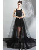 Fancy See Through Black Tulle Formal Prom Dress With Long Train