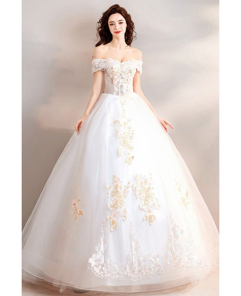Gorgeous Ball Gown Off Shoulder Wedding Dress With Flowers