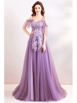 Classy Dusty Purple Long Tulle Prom Dress With Flowers Straps