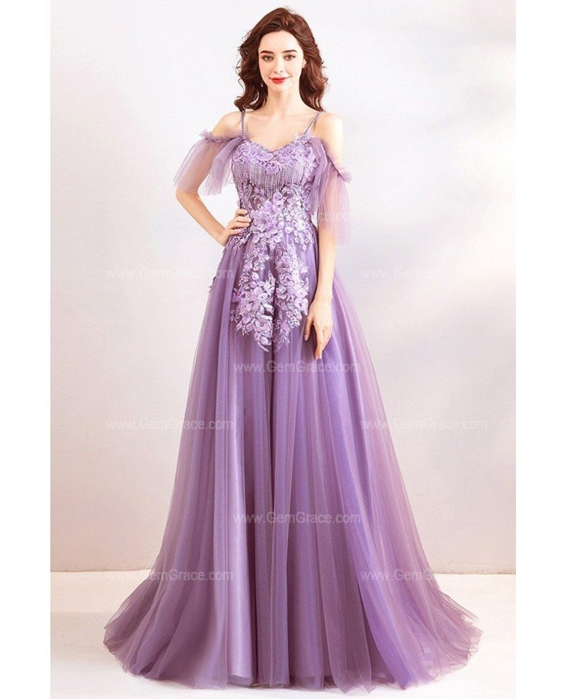 excellent quality new appearance exquisite style Classy Dusty Purple Long Tulle Prom Dress With Flowers Straps ...
