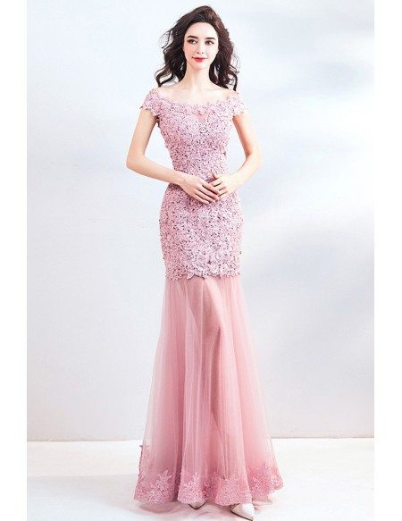 Beaded Lace Pink Tulle Fitted Mermaid Long Party Dress