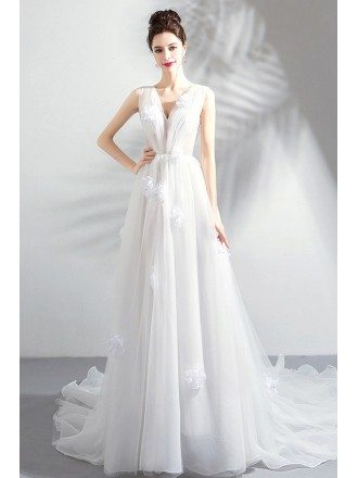 Fairy White Petals V-neck Boho Wedding Dress Simple With Train