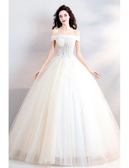 Charming Off Shoulder Ball Gown Wedding Dress With Bling Bling