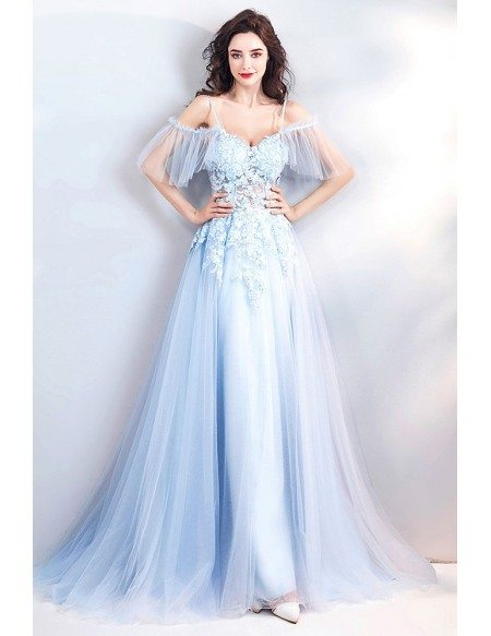 Fairy Blue Long Tulle Prom Dress Flowy With Straps Flowers