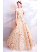 Unique Sparkly Gold Long Formal Prom Dress Ball Gown Off Shoulder