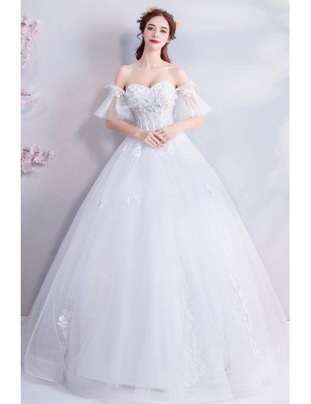 Fairy Butterfly Sleeve Ball Gown Wedding Dress With Off Shoulder