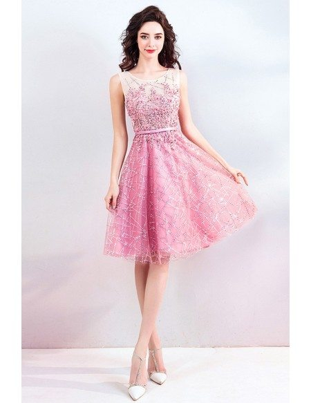 Super Cute Pink Sequins Short Prom Dress Tulle With Bling