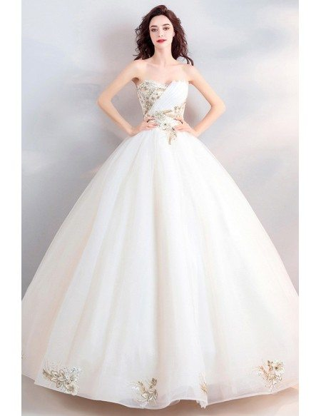 Fancy Gold Embroidery Ivory Ball Gown Wedding Dress Strapless