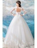 Luxury Embroidery Lace Princess Tulle Wedding Dress With Long Sleeves