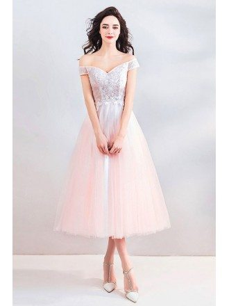 Peachy Pink Off Shoulder Tea Length Wedding Party Dress With Beading