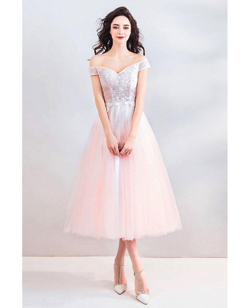 Peachy Pink Off Shoulder Tea Length Wedding Party Dress