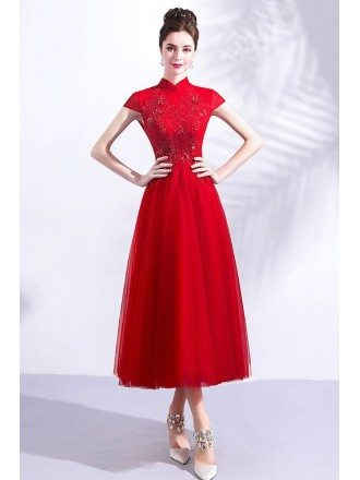 Retro High Collar Burgundy Tea Length Tulle Party Dress With Cap Sleeves