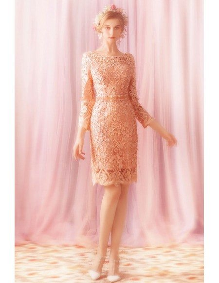 Gorgeous Pink Lace Sheath Short Bridal Party Dress With Long Sleeves