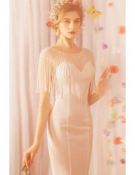 Slim Long White Satin Mermaid Formal Dress With Tassel Sleeves