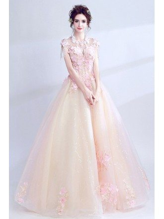 Fairy Pink Floral Tulle Long Prom Dress With Petals