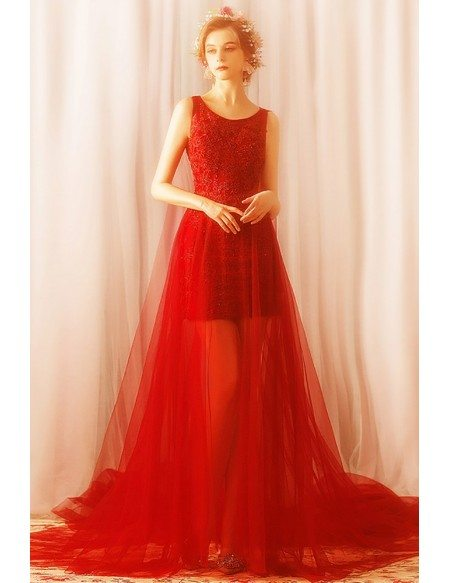 Fancy Long Red See Through Tulle Prom Dress With Train