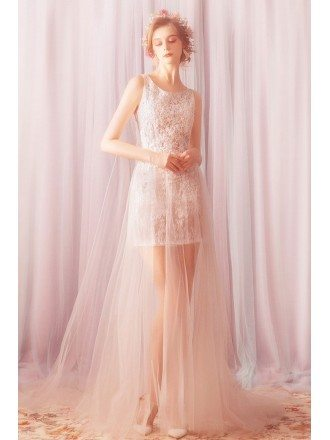 Light Weight Long Tulle Lace Beach Wedding Dress With Train