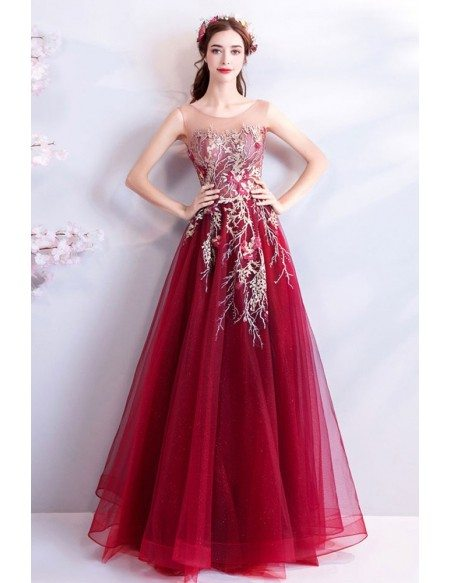 Unique Luxury Red Embroidered Long Prom Dress Sleeveless