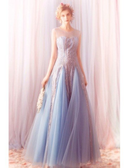 Sparkly Sequins Blue Long Tulle Prom Dress A Line With Bling