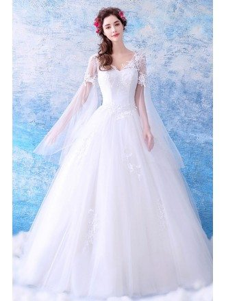 Dreamy Cape Lace Sleeves Princess Wedding Dress Ball Gown Tulle